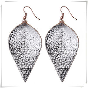 Leather Leaf Water Drop Metallic Earrings